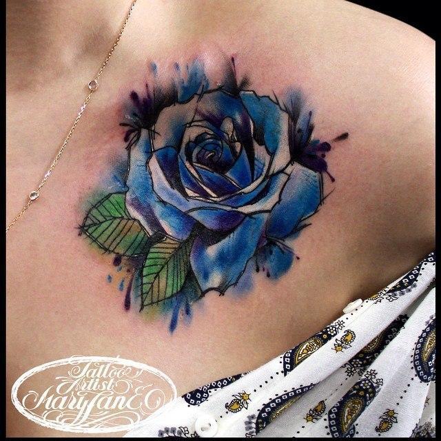 """Художественная татуировка """"Акварельная роза"""". Мастер Mary Jane."""