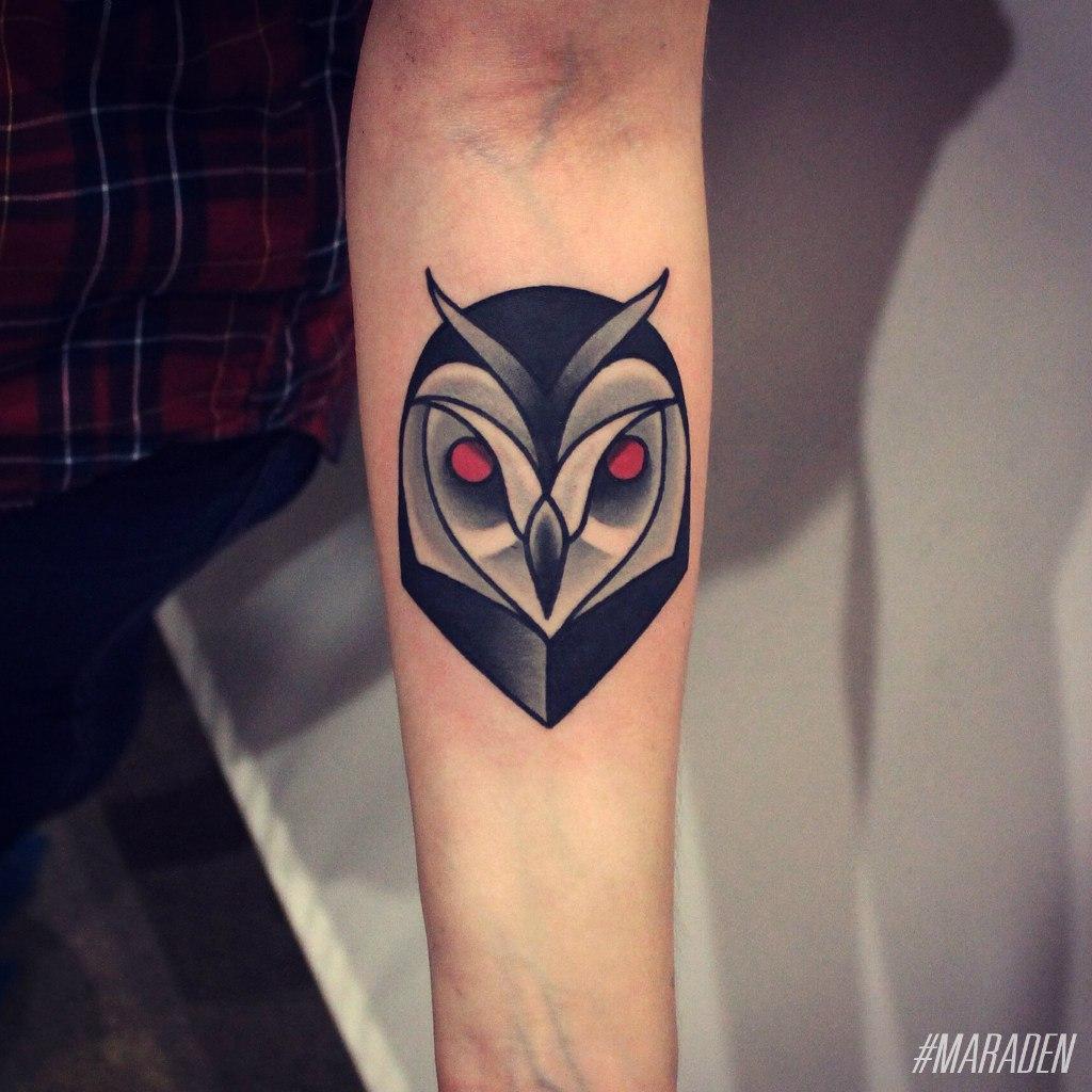 """Художественная татуировка """"Сова"""". Мастер Денис Марахин."""