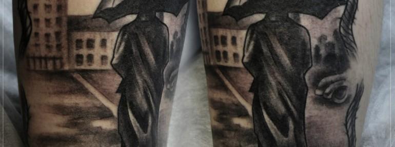 Художественная татуировка «Идущий вдаль». Мастер Мария Скляр.