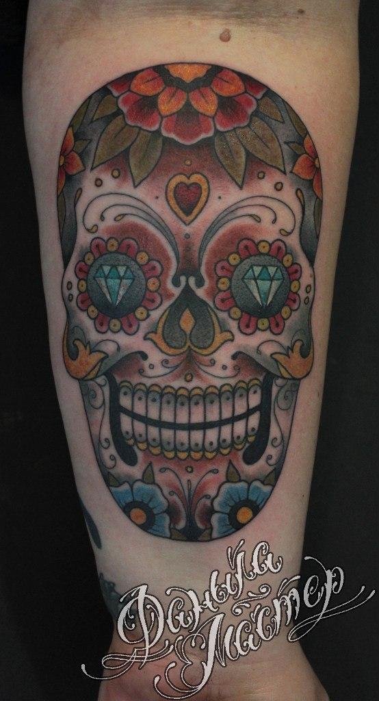 """Художественная татуировка """"Сахарный череп"""" от Данилы-Мастера"""
