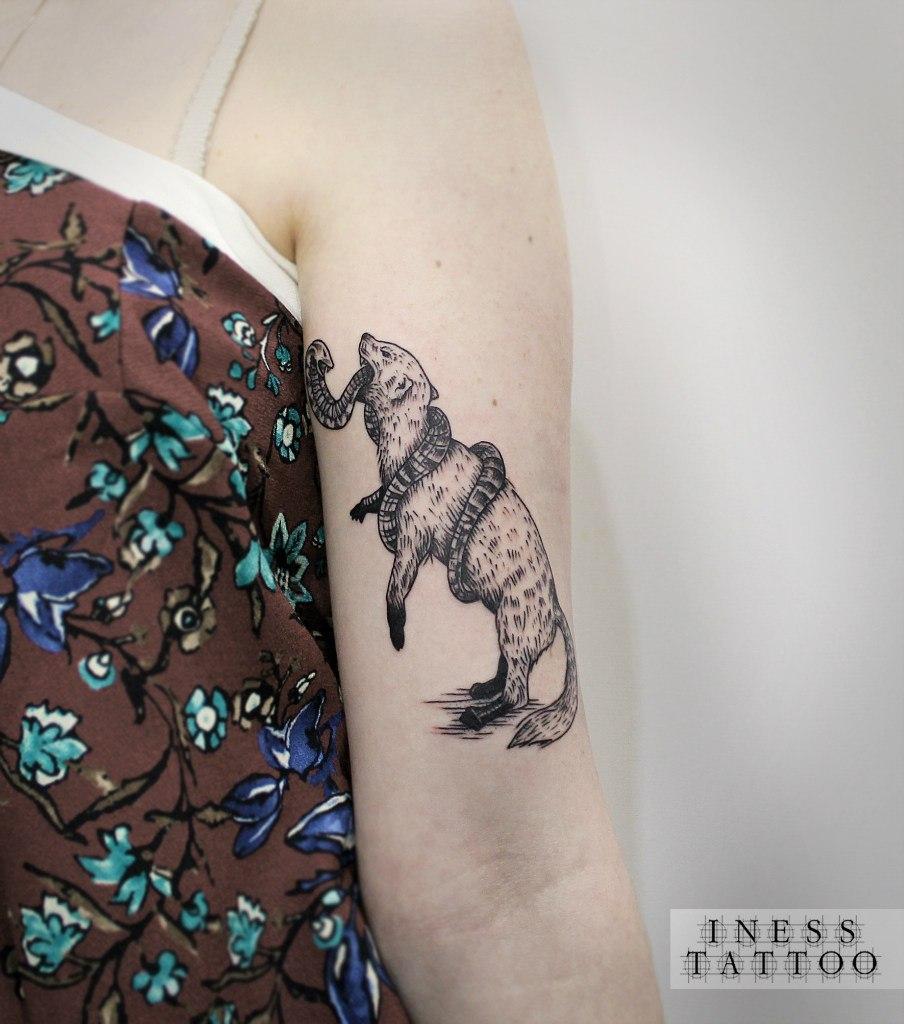 """Художественная татуировка """"Мангуст и змея"""". Мастер - Инесса Кефир."""