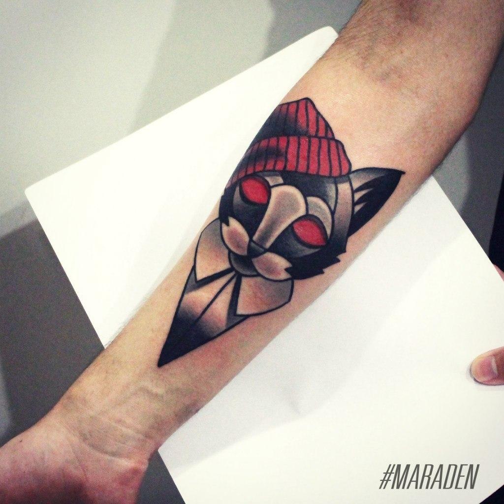 Художественная татуировка «Кот». Мастер — Денис Марахин. Расположение — предплечье. Время работы — 2,5 часа. По собственному эскизу.