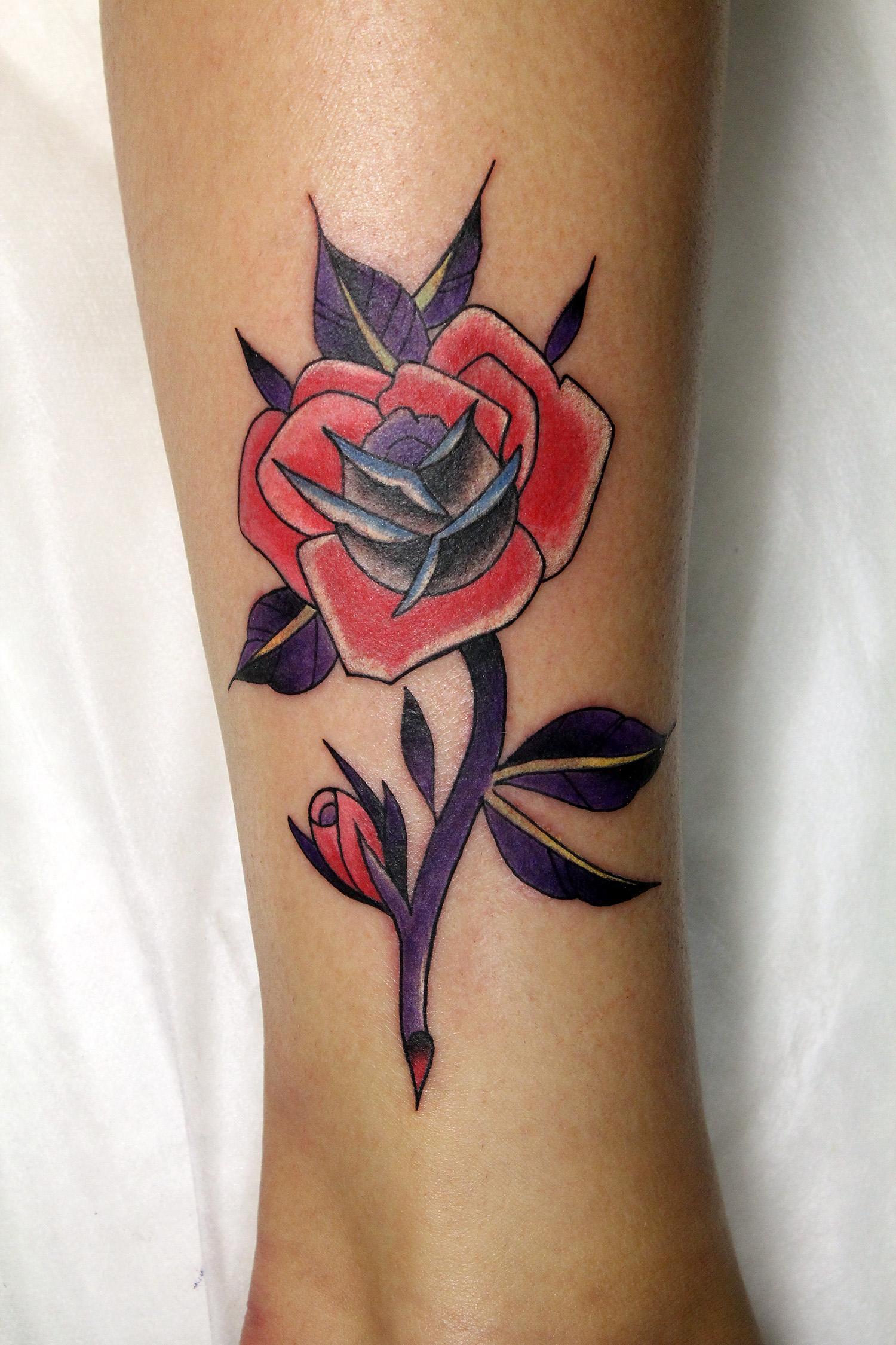 """Художественная татуировка """"Роза"""". Мастер Нияз Фахриев."""