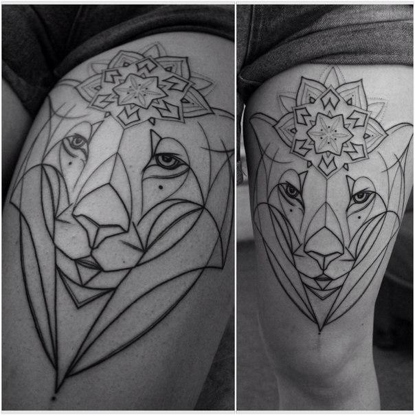Художественная татуировка «Лев». Мастер — Саша Новик