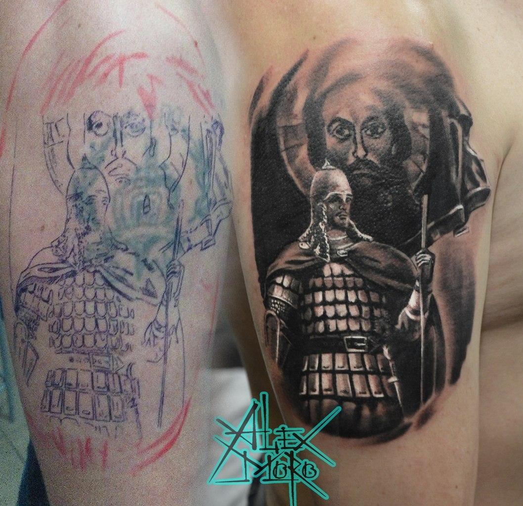 Перекрытие старой татуировки. Мастер Александр Морозов