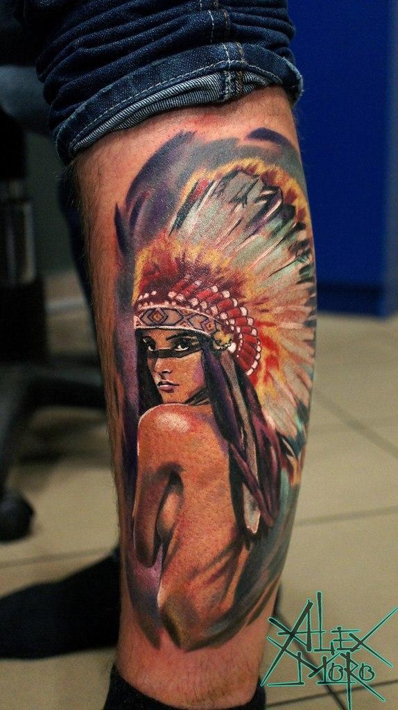 """Художественная татуировка """"Индианка"""" от Александра Морозова"""