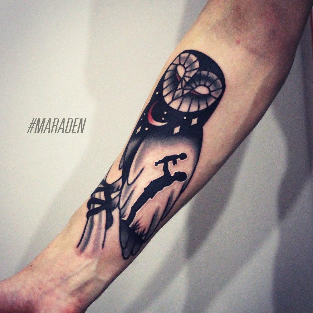 Художественная татуировка «Сова». Мастер — Денис Марахин