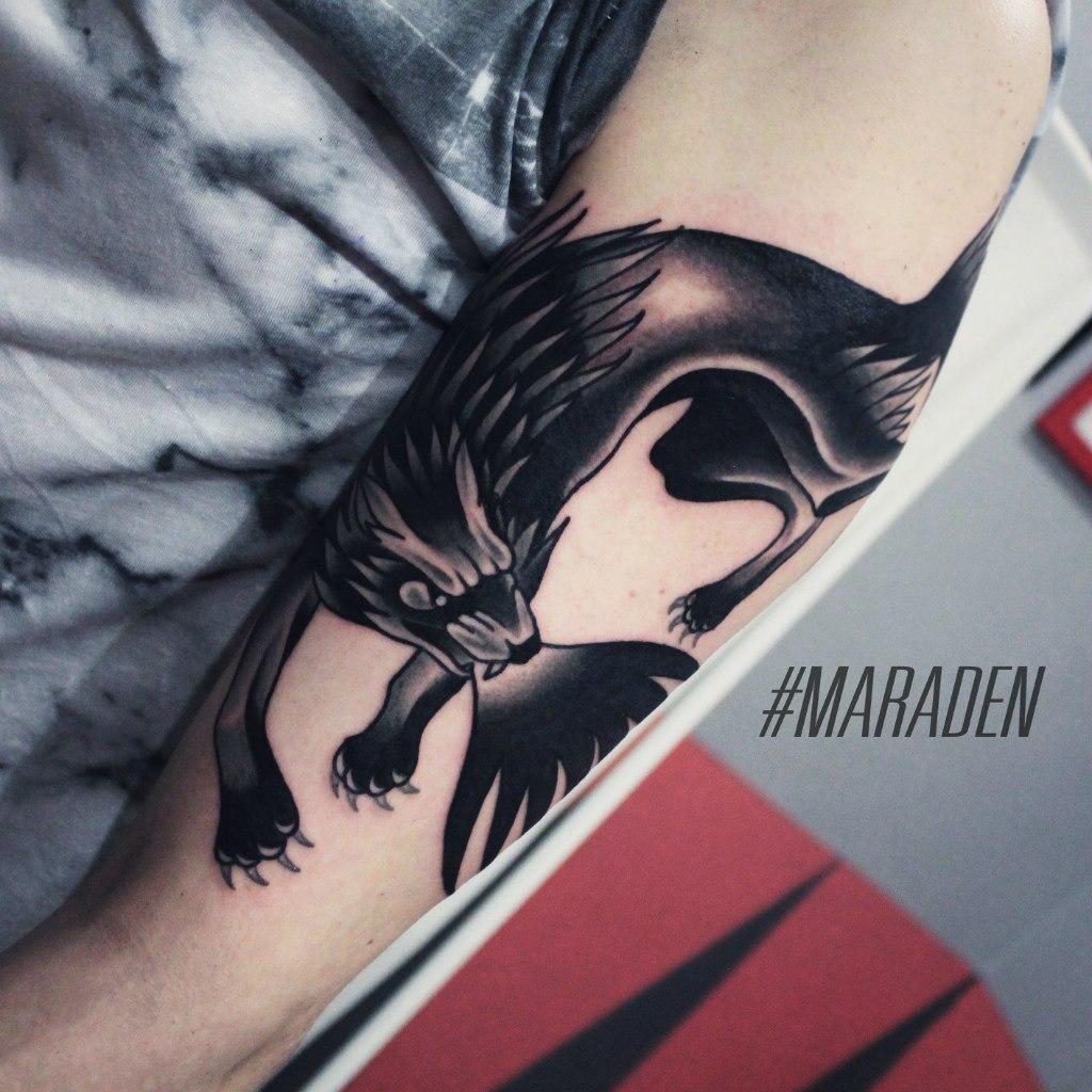 Художественная татуировка «Волк». Мастер — Денис Марахин