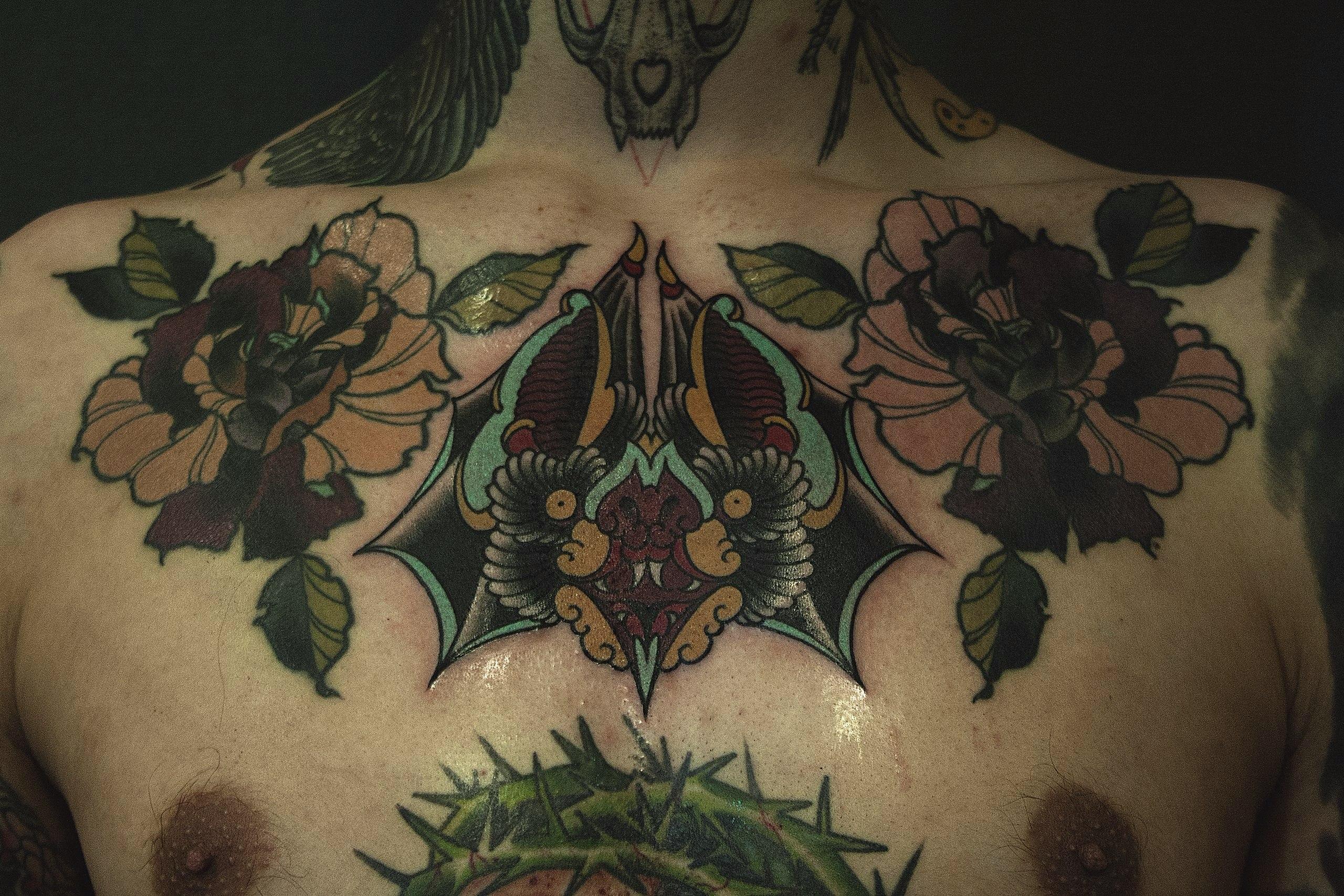 """Художественная татуировка """"Летучая мышь"""" от Валеры"""