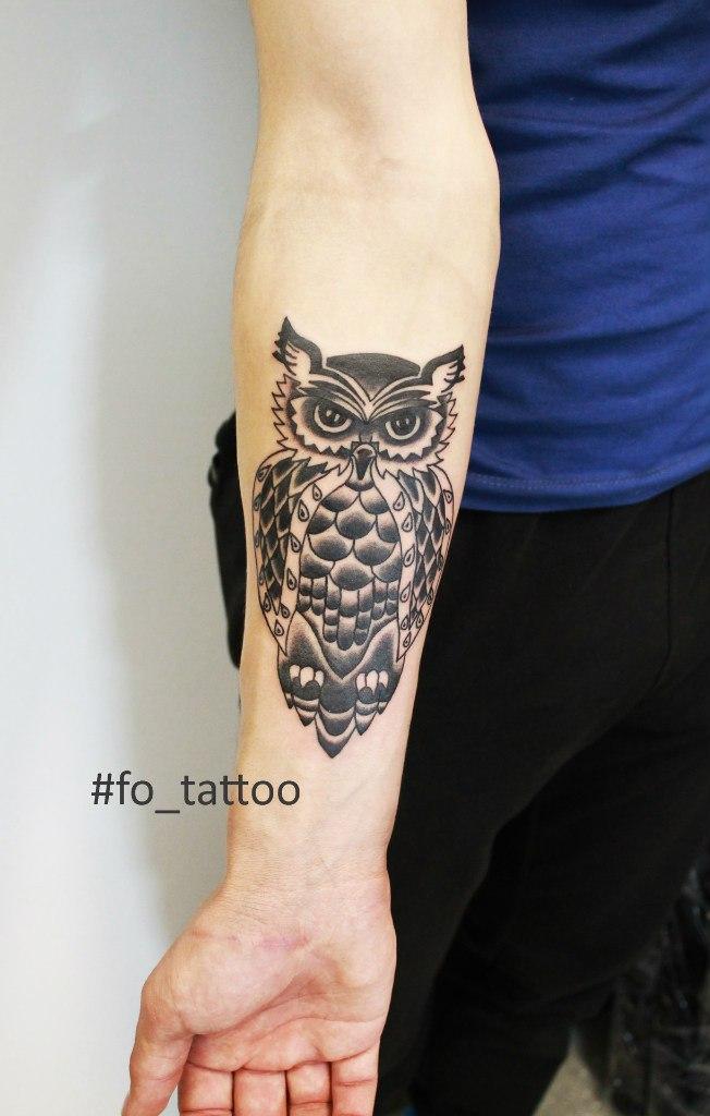 Художественная татуировка «Сова». Мастер Фоля Fo.