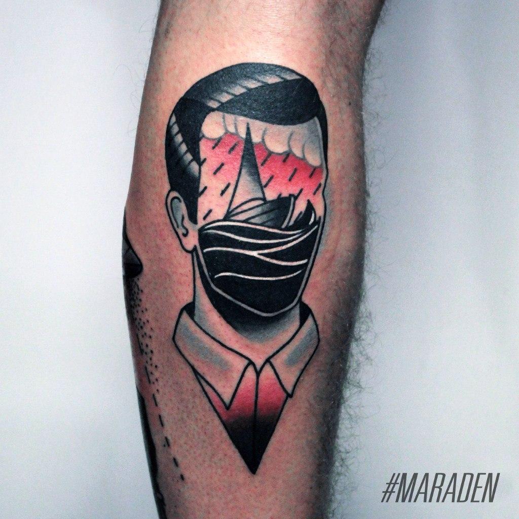 Художественная татуировка «Лицо». Мастер — Денис Марахин