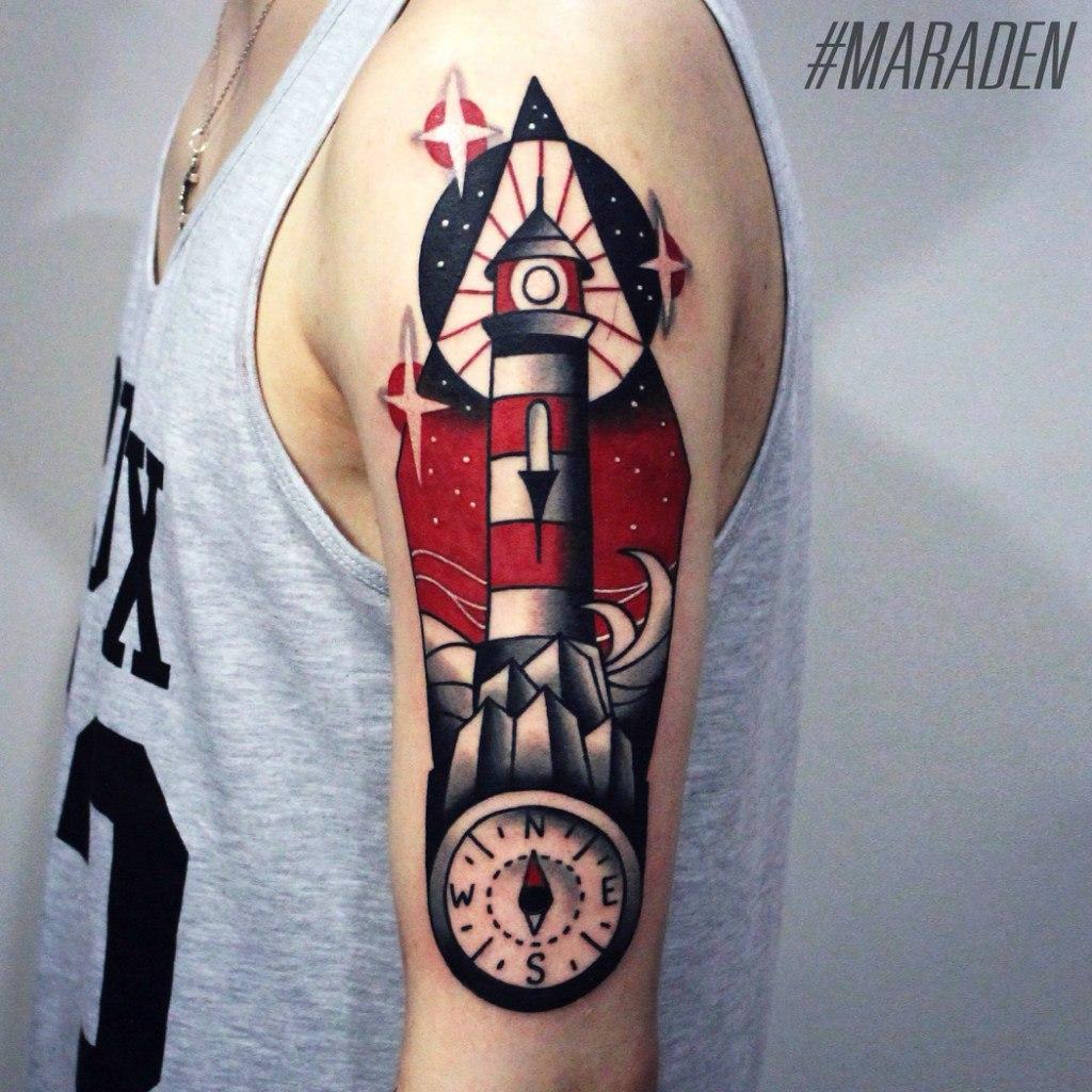 Художественная татуировка «Маяк». Мастер — Денис Марахин