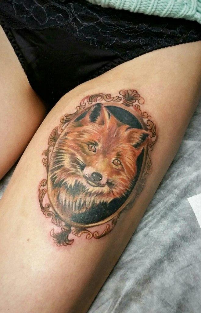"""Художественная татуировка """"Лиса"""". Мастер Анастасия Енот."""