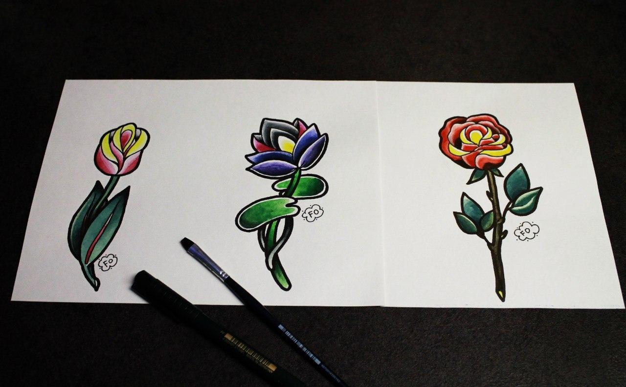Свободные эскизы цветов от Фоли Fo