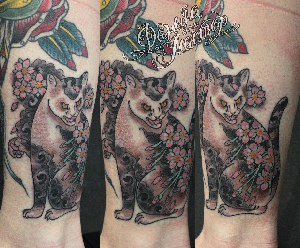 """Художественная татуировка """"Кошка"""" от Данилы-Мастера."""
