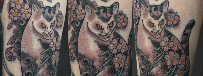 Художественная татуировка «Кошка» от Данилы-Мастера.