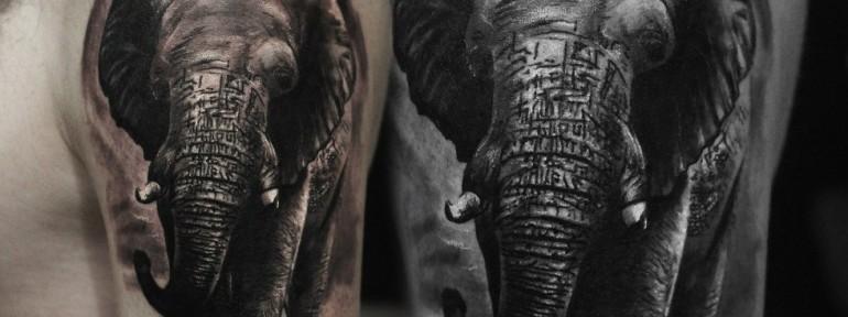 Художественная татуировка «Слон» от Александра Морозова.
