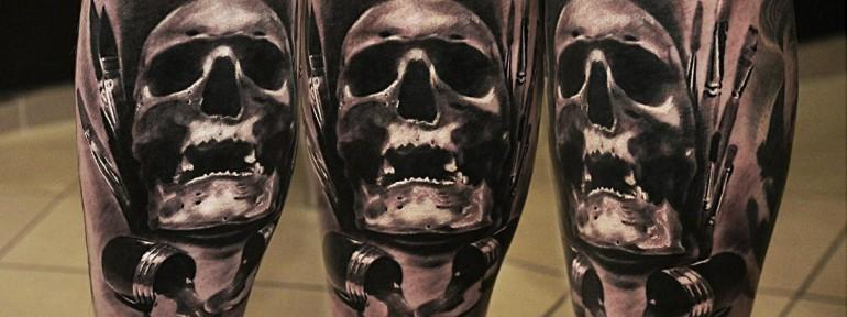 Художественная татуировка «Череп» от Александра Морозова.