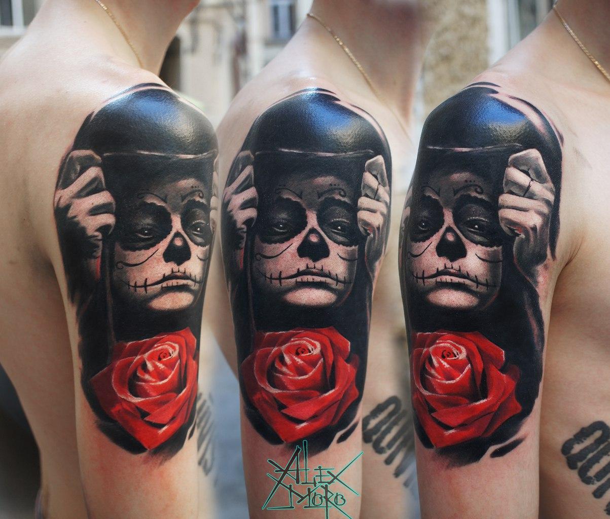 """Художественная татуировка """"Девушка с розой"""" от Александра Морозова."""