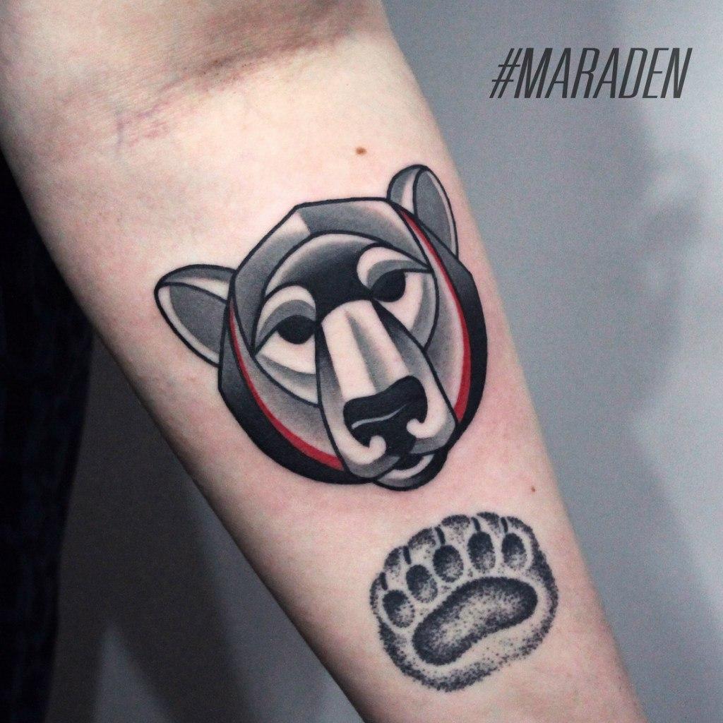 Художественная татуировка «Медведь». Мастер — Денис Марахин