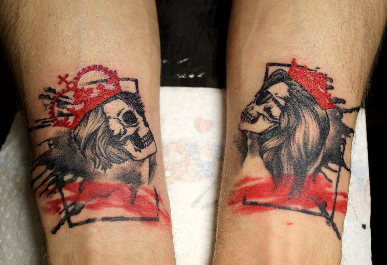 Художественная татуировка «Черепа». Мастер — Анна Корь