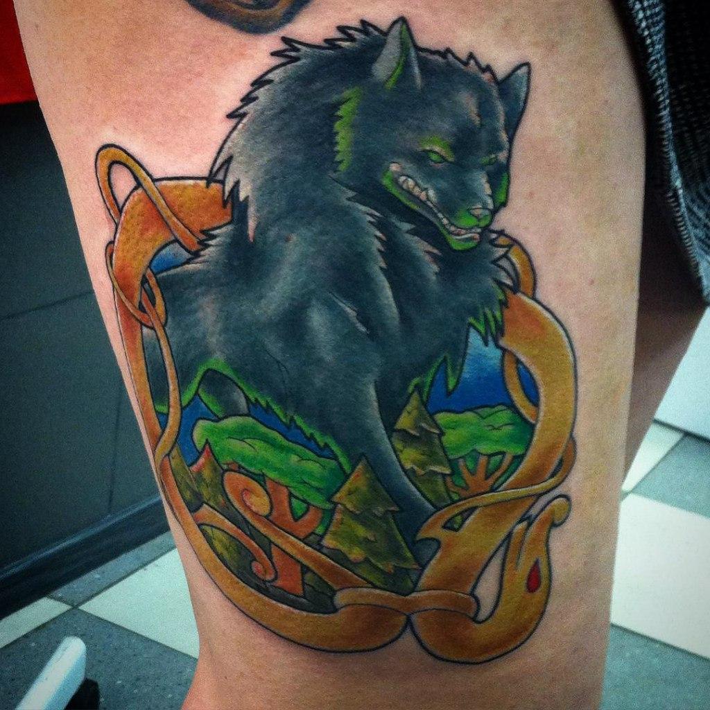 """Художественная татуировка """"Фенрир"""". Мастер Женя-Химик."""