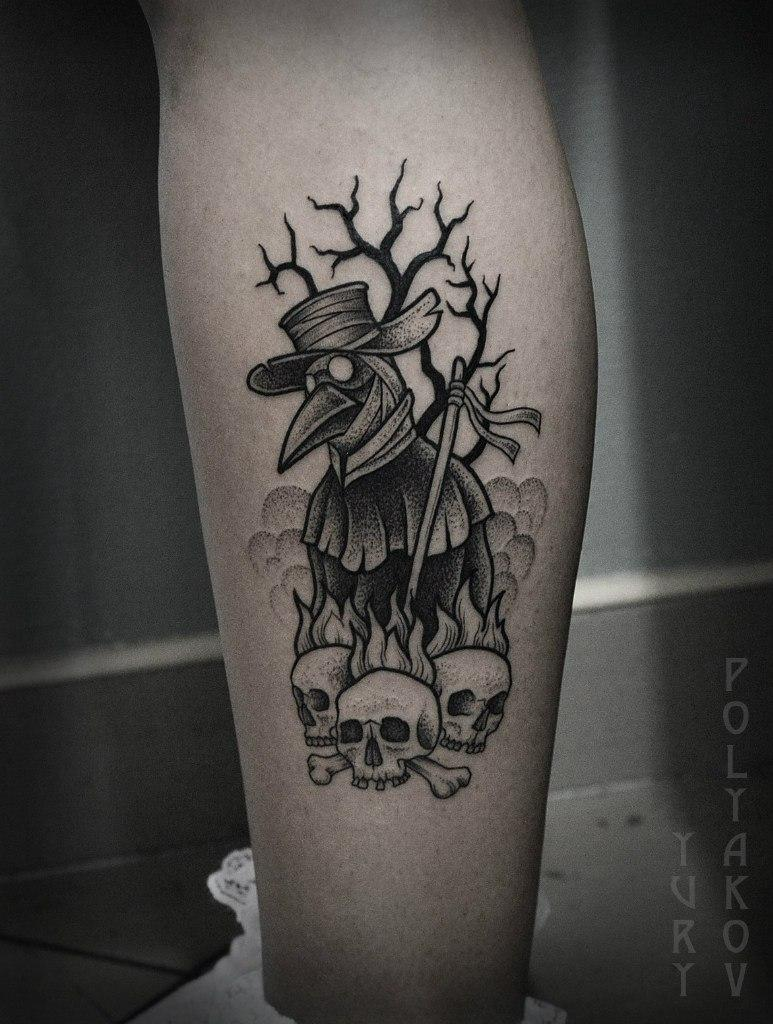 """Художественная татуировка """"Чумной Доктор"""" от Юрия Полякова"""