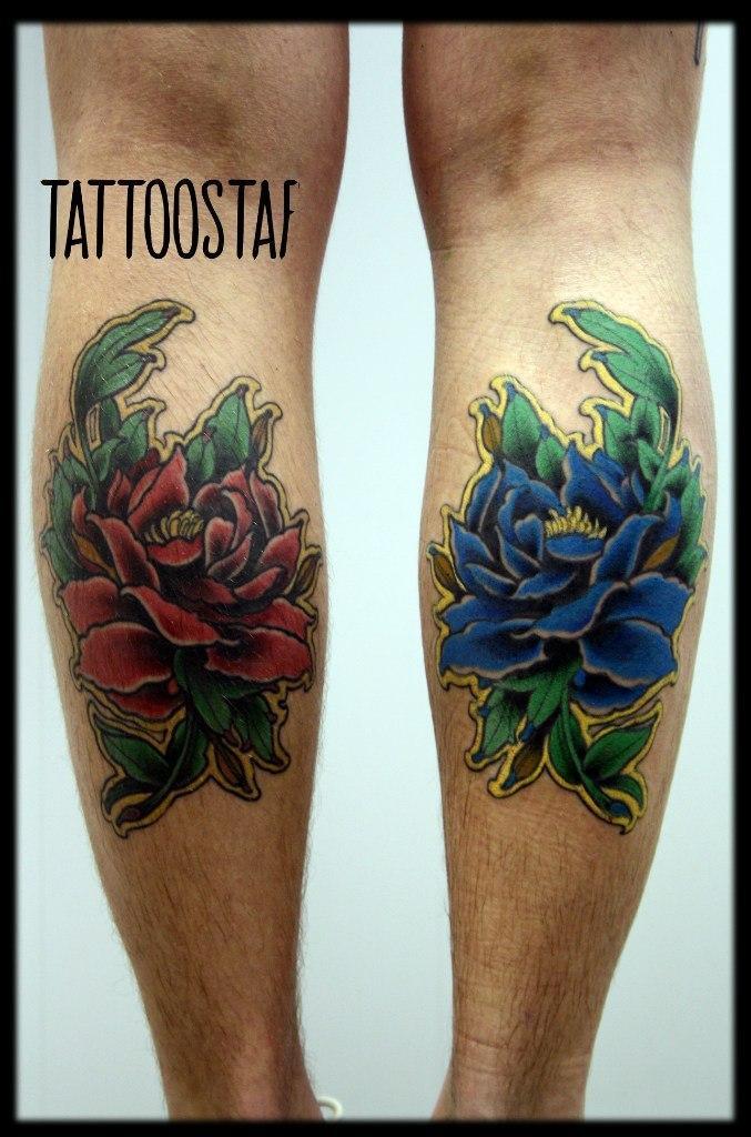 """Художественная татуировка """"Цветы"""", от мастера Алексея Стафеева."""