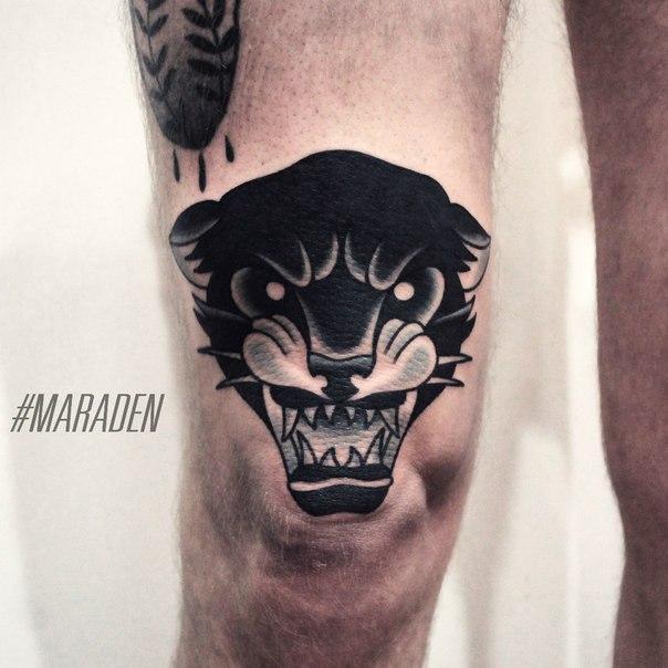 Художественная татуировка «Пантера». Мастер — Денис Марахин. Расположение — колено. Время работы — 2 часа. По своему эскизу.