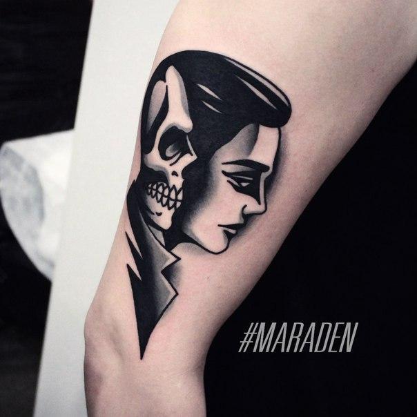 Художественная татуировка «Мужчина». Мастер — Денис Марахин. Расположение — плечо. Время работы — 2,5 час. По собственному эскизу.