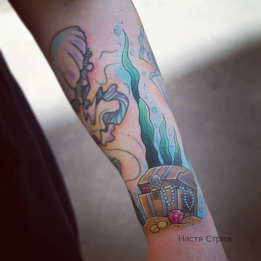 """Художественная татуировка """"Сундук"""". Мастер Настя Стриж."""