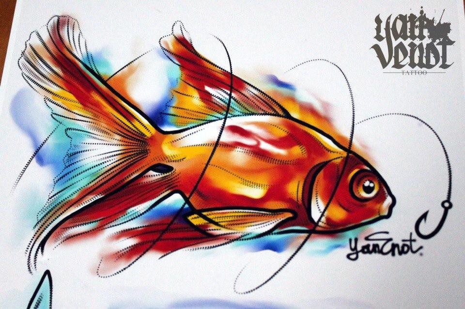 """Свободный эскиз """"Золотая рыбка"""". Мастер Ян Енот."""