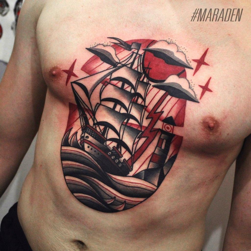 Художественная татуировка «Корабль». Мастер — Денис Марахин. Расположение — торс. Время работы — 4 часа. По своему эскизу.