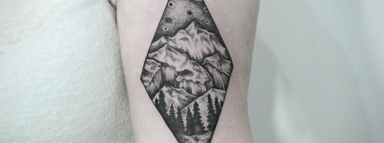 Художественная татуировка «Пейзаж». Мастер — Инесса Кефир.