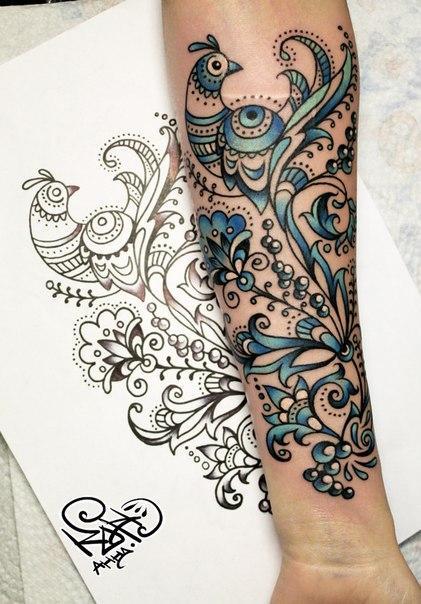 Художественная татуировка «Узоры». Мастер — Анна Корь. Расположение — предплечье. Время работы —2 часа. По своему эскизу.