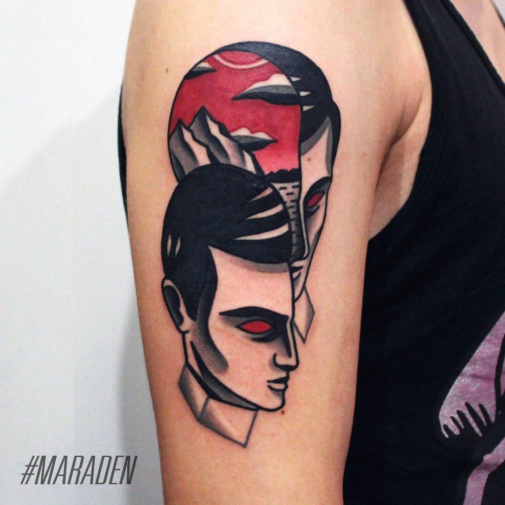 Художественная татуировка «Горы». Мастер — Денис Марахин. Расположение — плечо. Время работы — 2 часа. По своему эскизу.