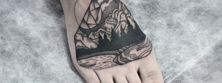 Художественная татуировка «Пейзаж». Мастер — Инесса Кефир