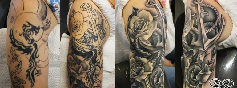 Художественная татуировка «Розы и якорь». Мастер — Анна Корь