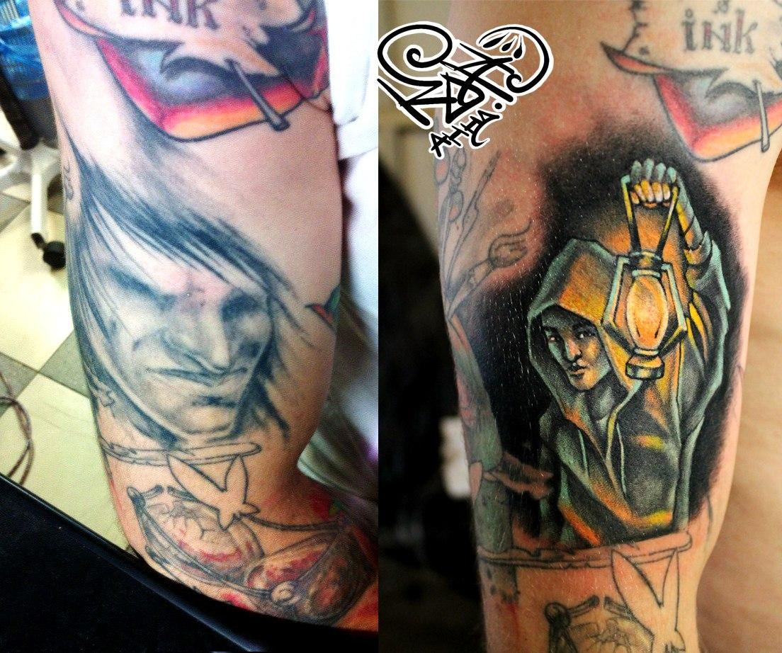 Художественная татуировка «Человек с фонарем». Мастер — Анна Корь