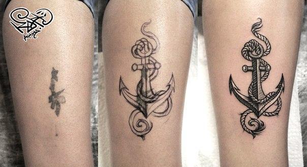 Художественная татуировка «Якорь». Мастер — Анна Корь.