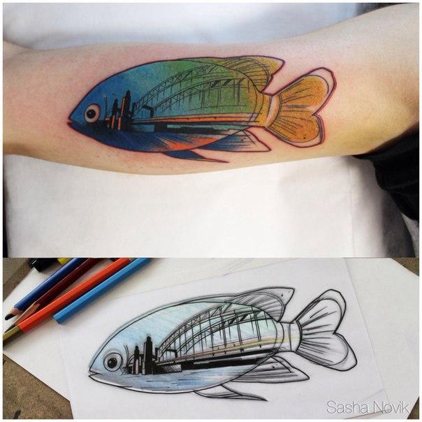 Художественная татуировка «Рыба». Мастер — Саша Новик
