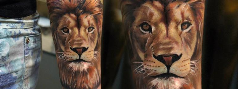 Художественная татуировка «Лев» от Александра Морозова