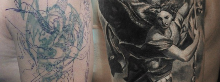 Художественная татуировка «Архангел Михаил» от Александра Морозова
