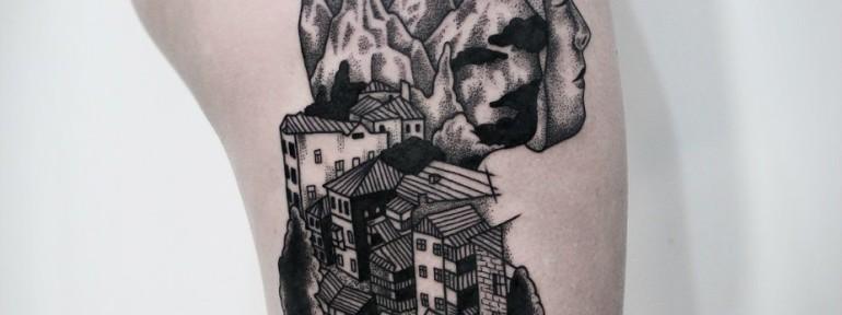 Художественная татуировка «Город». Мастер — Инесса Кефир
