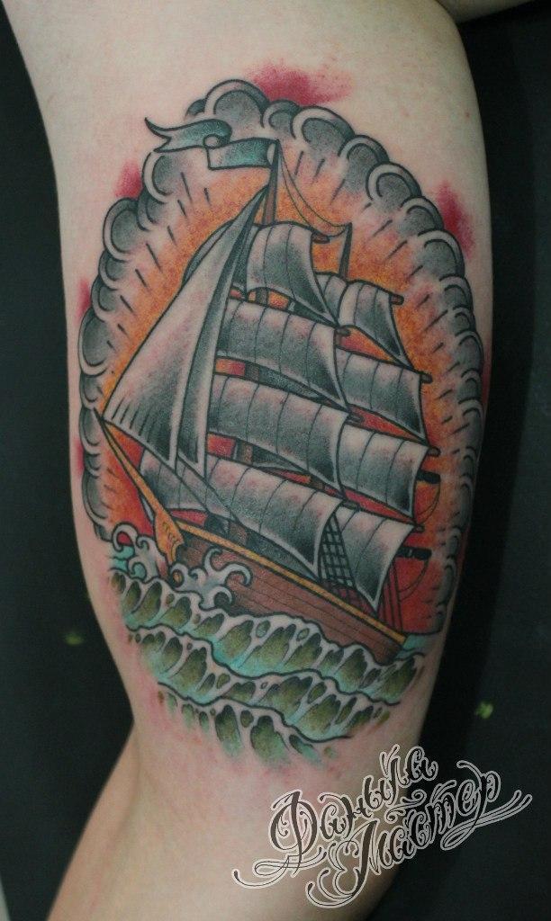 """Художественная татуировка """"Корабль"""" от Данилы-Мастера"""