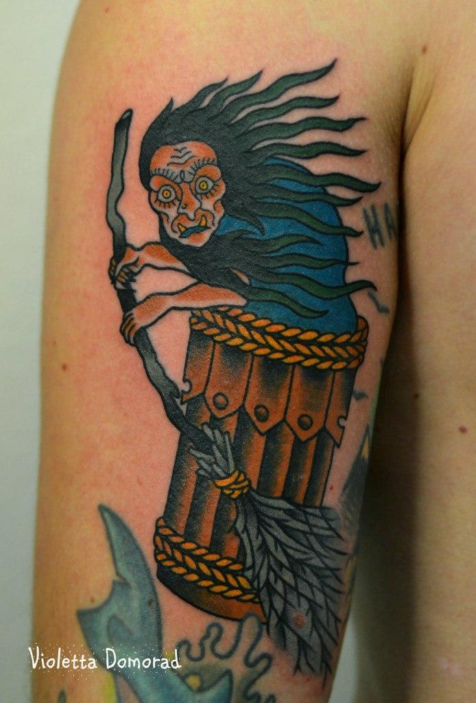 """Татуировка """"Баба Яга"""". Мастер Виолетта Доморад."""