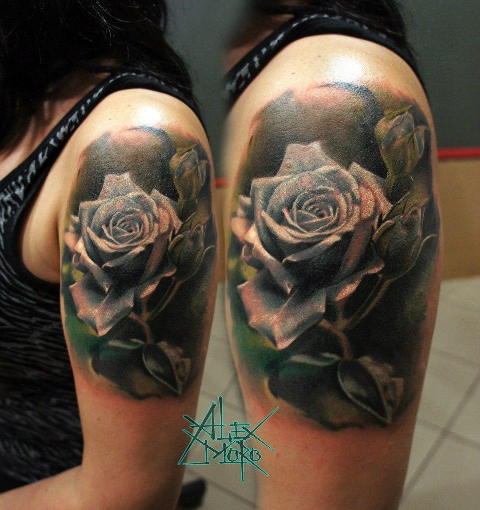 "Художественная татуировка ""Роза"" от Александра Морозова"