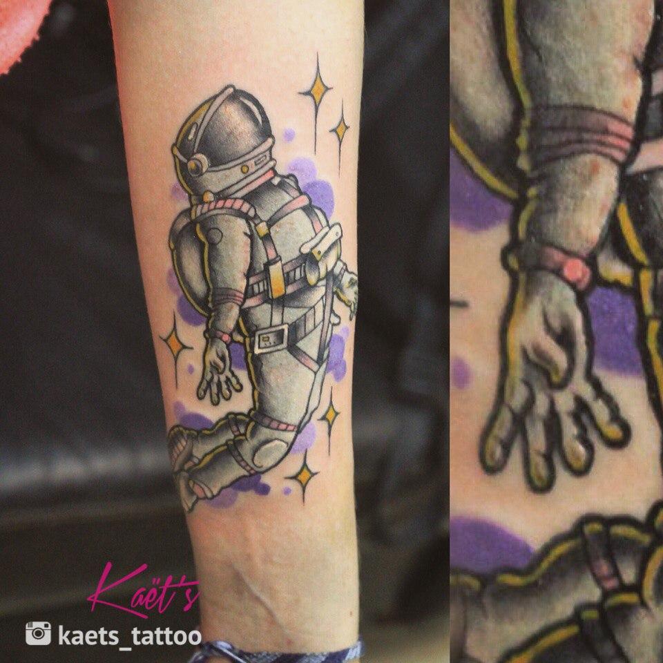 """Художественная татуировка """"Космонавт"""" от Берёзы"""