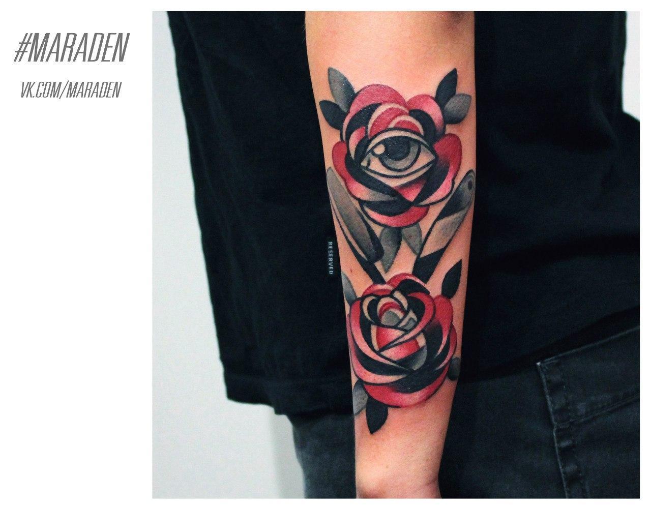 Художественная татуировка «Розы». Мастер — Денис Марахин
