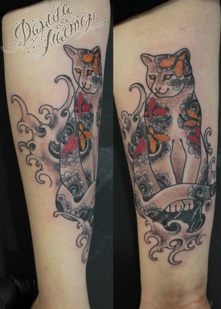 """Художественная татуировка по мотивам """"Monmon Cats"""" от Данилы-Мастера"""